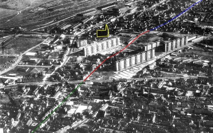 Reconstruction de Sotteville - Tracé de la Rue de la République disparue