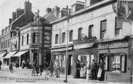 sotteville pl voltaire angle barbès vers 1908 café des sports