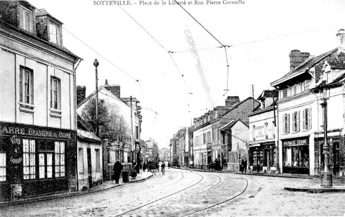 Place de la liberté et rue Corneille - carte postale (livre La Rive Gauche de Guy Pessiot coll mme Duboc)