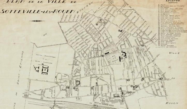 Plan Sotteville-lès-Rouen avant-guerre