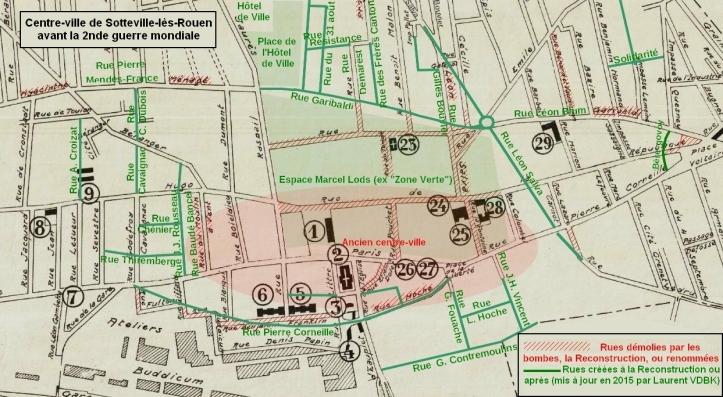 Plan de Sotteville-lès-Rouen avant la seconde guerre mondiale et transformation de la Reconstruction