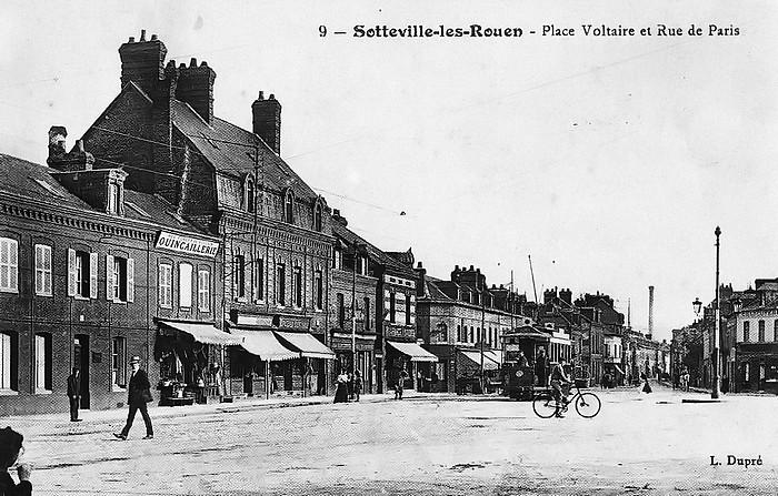 Place Voltaire et rue Corneille 1910 - Sotteville-lès-Rouen