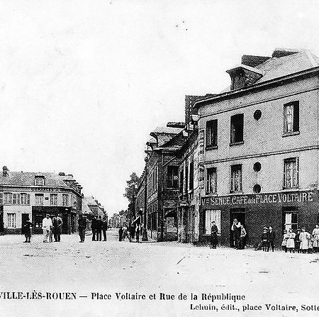 Place Voltaire rue de la République et rue Garibaldi 1908 - Sotteville-lès-Rouen