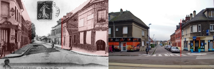 Sotteville-lès-Rouen, angle rues Garibaldi et Bouvier avant/après