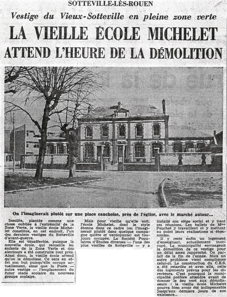 Paris-Normandie du 14 mars 1966 - école michelet