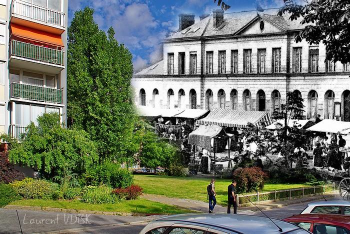 Sotteville-lès-Rouen - Espace Marcel Lods - L'ancienne mairie et le marché sur la place - Montage avant/après