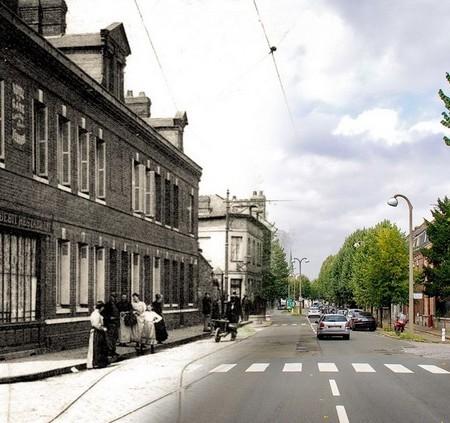 Rue de Paris - Sotteville-lès-Rouen - à l'angle de la rue Jean - Montage Avant/Après