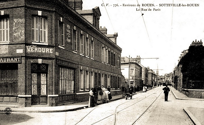 Rue de Paris - Sotteville-lès-Rouen - Hôtel restaurant de la Gare à l'angle de la rue Jean