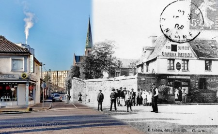 Rue littré - Sotteville-lès-Rouen - Mixage d'une vieille photo et d'une récente