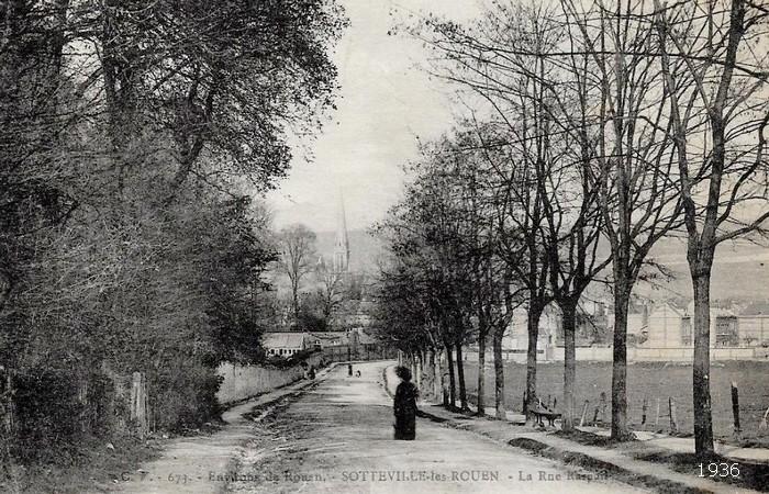 Carte postale ancienne - Vieille photo noir et blanc de la Rue Raspail - Sotteville-lès-Rouen