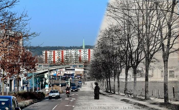 Avant-Après rue Raspail / avevue Jaurès - Soteville-lès-Rouen