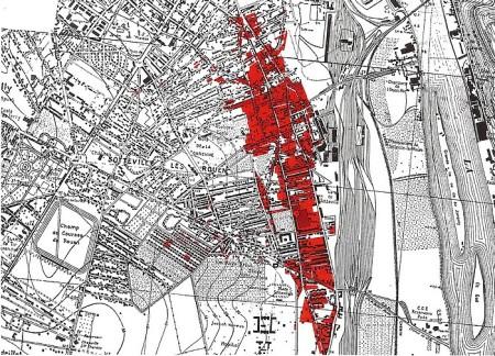 Carte des destructions de Sotteville-lès-Rouen pendant la seconde guerre mondiale