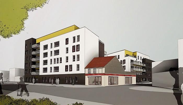 Maquette du projet immobilier à Sotteville-lès-Rouen avec l'ancien bar-tabac la Narval représenté