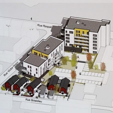 Maquette du projet de construction de l'îlot Raspail-Victor Hugo-Boieldieu à Sotteville-lès-Rouen