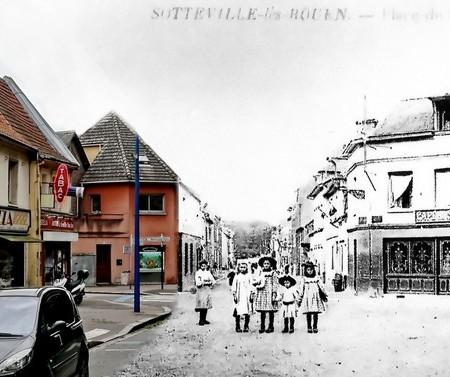 Rephotographie - Place de la République - Rue Raspail - Sotteville-lès-Rouen