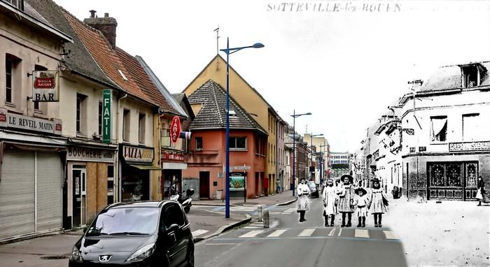 Sotteville-lès-Rouen - Rue Raspail - place de la République - Rephotographie Rephotography