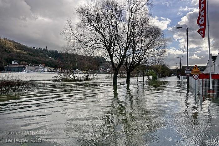 Crue de la Seine le 1er février 2018 à Sotteville-lès-Rouen (chemin du Halage)
