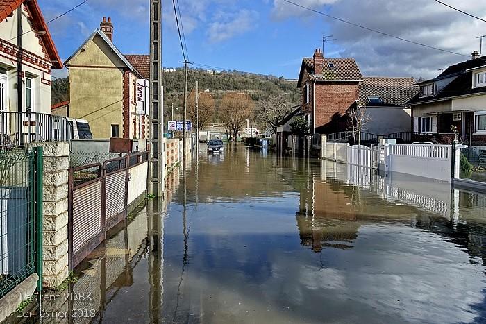 Crue de la Seine le 1er février 2018 à Sotteville-lès-Rouen (rue d'Eauplet)
