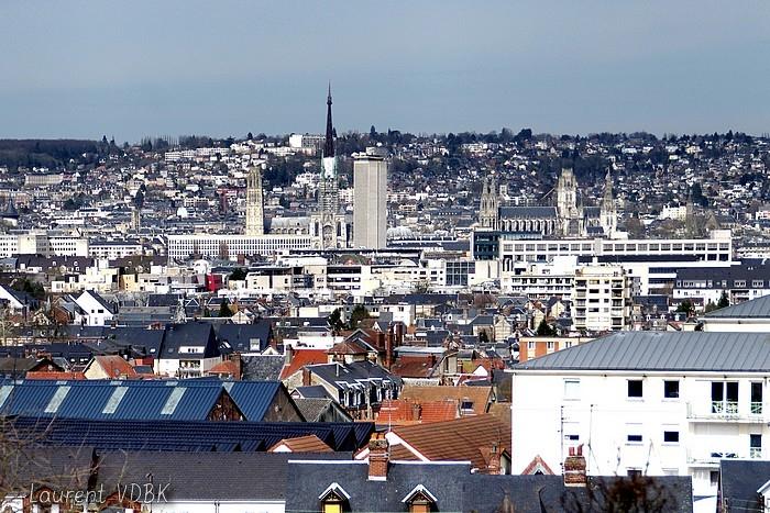 Rouen vu du clocher de l'église ND de Lourdes à Sotteville-lès-Rouen