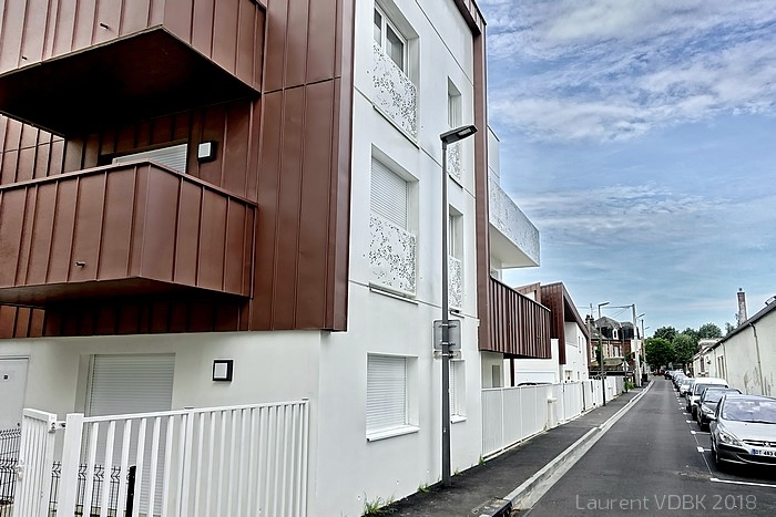 Transformation du quartier de la gare à Sotteville-lès-Rouen - Résidence Violette Szabo rue Gambetta et rue de la Gare