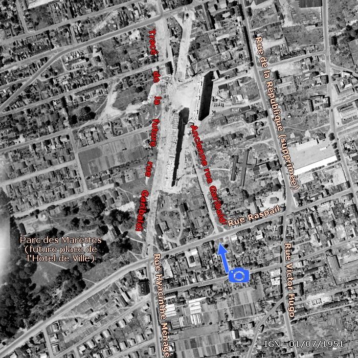 Vue aérienne du changement de tracé de la rue Garibaldi à Sotteville-lès-Rouen