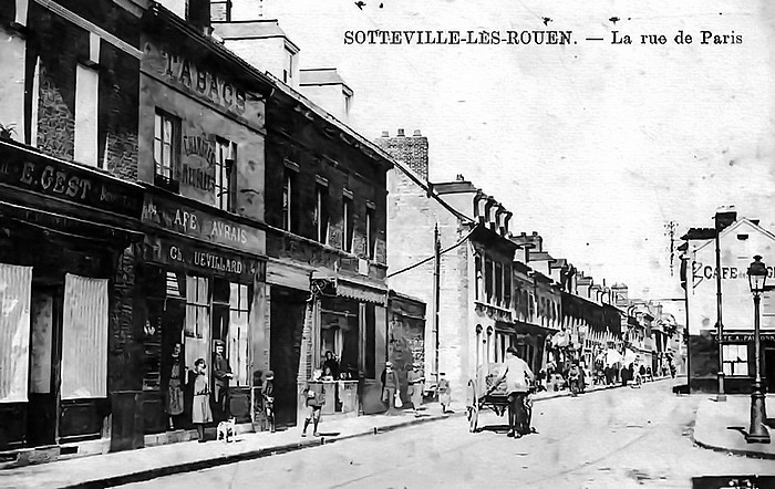 Rue de Paris avant-guerre à Sotteville-lès-Rouen