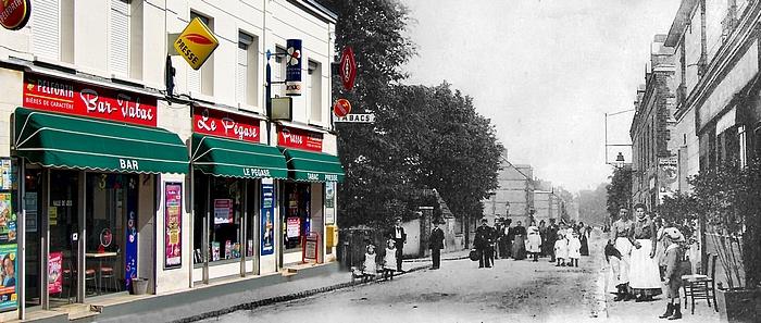 Montage anachronique rue de Trianon à Sotteville-lès-Rouen avec une ancienne carte postale et une photo actuelle