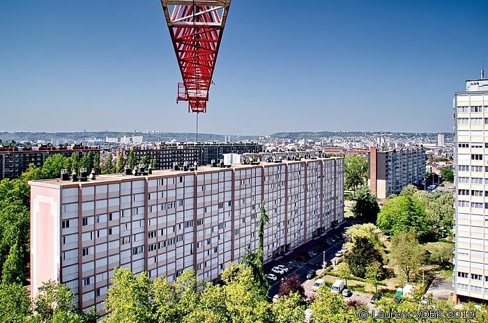 Sotteville-lès-Rouen vue du haut de la grue du chantier à l'angle des rues Raspail et Victor Hugo