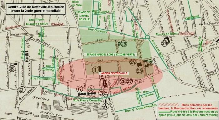 Plan de Sotteville-lès-Rouen avant-guerre - Ancien centre-ville