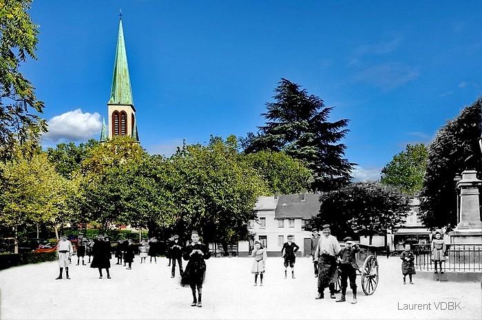 La place de l'ancienne mairie et l'église Notre-Dame de l'Assomption - Sotteville-lès-Rouen