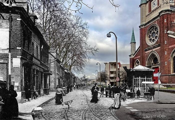 La rue de Paris et l'église N.D. de l'Assomption autrefois - Sotteville-lès-Rouen