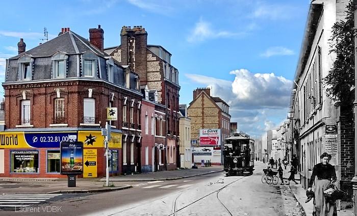 La rue Pierre Corneille au carrefour avec les rues Léon Salva et Ledru-Rollin - Sotteville-lès-Rouen