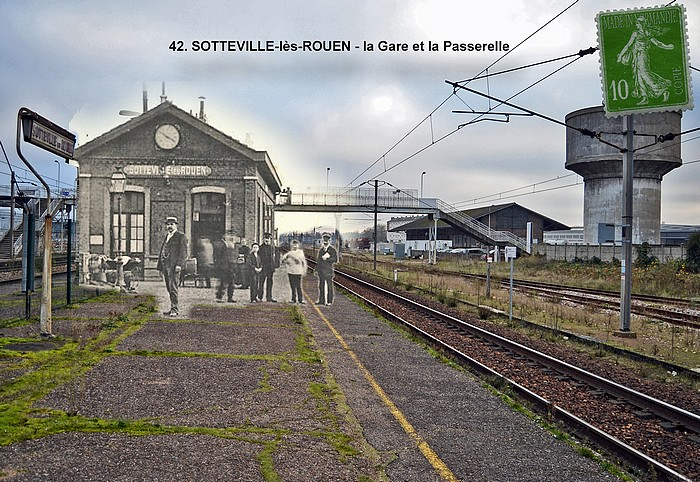 Rephotographie avant/après de la gare de Sotteville-lès-Rouen