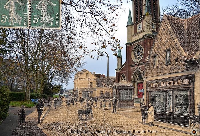 Rephotographie avant/après de la rue de Paris et église Notre-Dame de l'Assomption - Sotteville-lès-Rouen