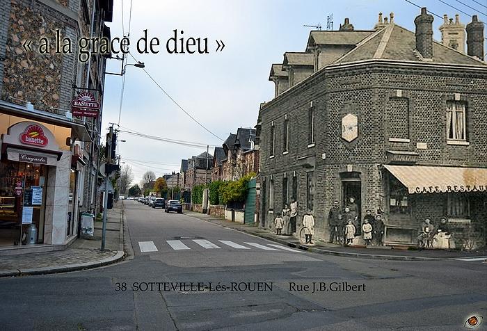 """Rephotographie du café """"À la grâce de Dieu"""" au carrefour des rues du Madrillet et J.B. Gilbert à Sotteville-lès-Rouen"""