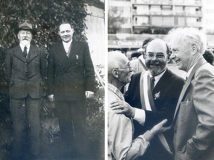 Roland Tafforeau avec Eugène Tilloy (à gauche) et Pierre Bourguignon (à droite)