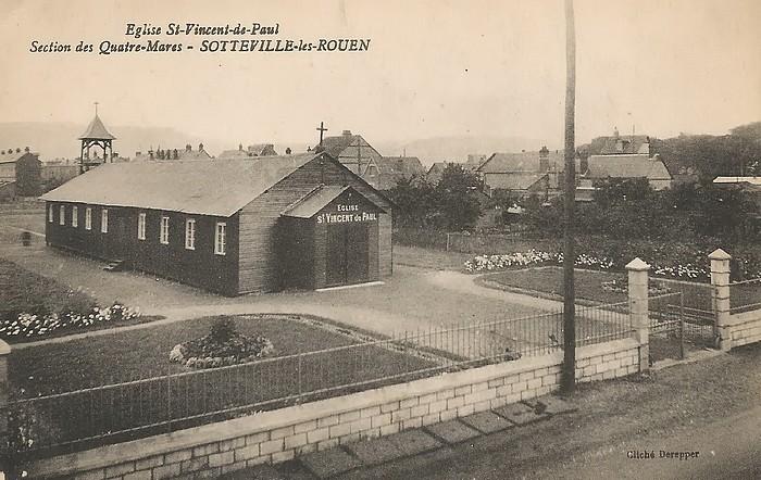 Baraquement en bois provisoire église Saint Vincent de Paul