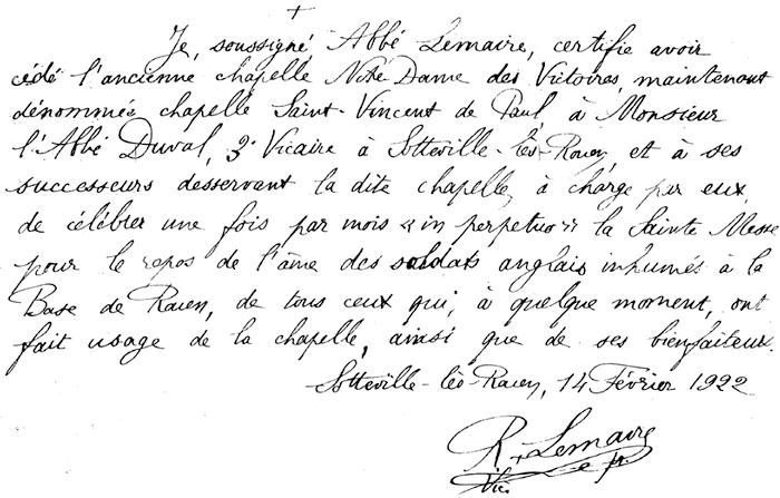 Lettre abbé Lemaire