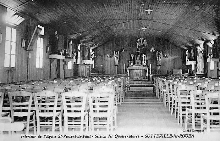 Intérieur de la chapelle provisoire Saint Vincent de Paul