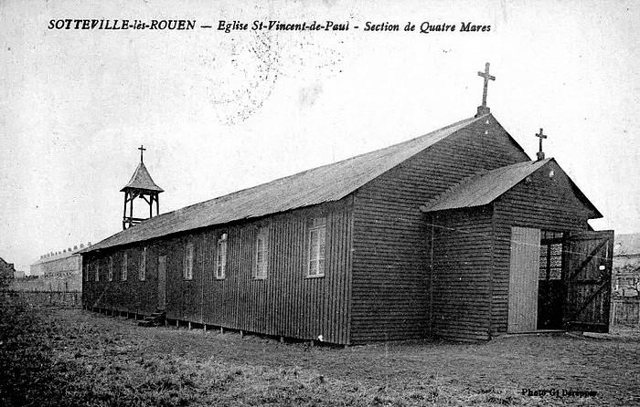Baraquement provisoire église Saint Vincent de Paul