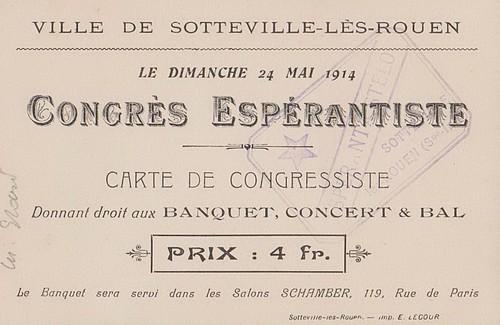 Carte de congressiste et inauguration de la rue Zamenhof le 24 mai 1914 à Sotteville-lès-Rouen