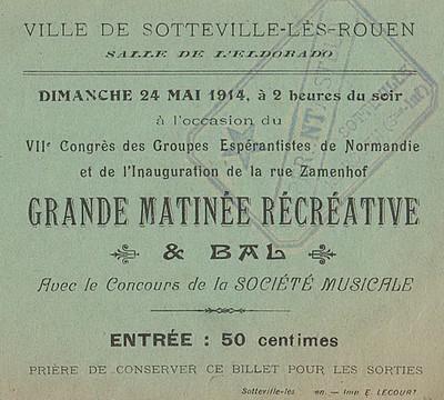 Billet d'entrée du bal de l'inauguration de la rue Zamenhof le 24 mai 1914 à Sotteville-lès-Rouen