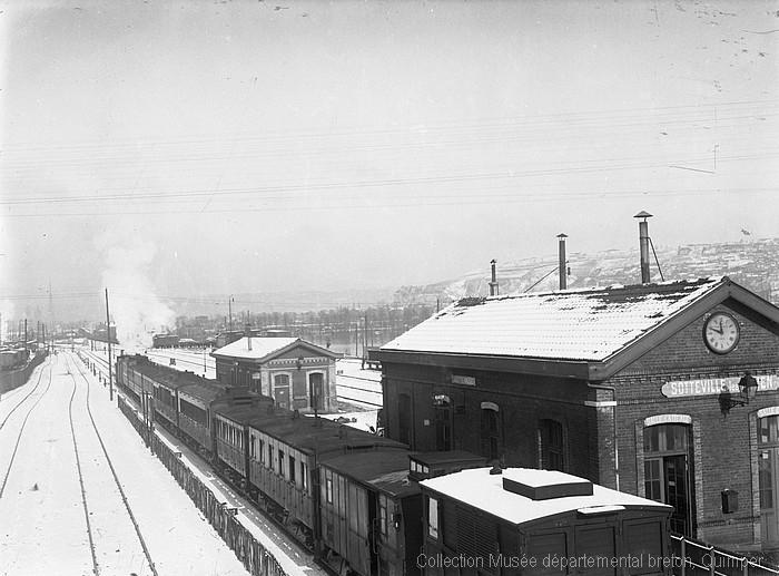 La gare de Sotteville sous la neige (André Le Chat)