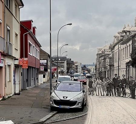 Montage rephotographique - Rue Pierre Corneille (angle rue du Quatre Septembre) - Sotteville-lès-Rouen