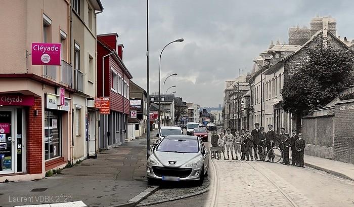Montage rephotographique (avant/après) - Rue Pierre Corneille (angle rue du Quatre Septembre) - Sotteville-lès-Rouen - Rephotographie par Laurent VDBK
