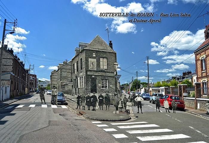 Montage avant-après (rephotographie) des rue Léon Salva et Dr Apvril à Sotteville-lès-Rouen