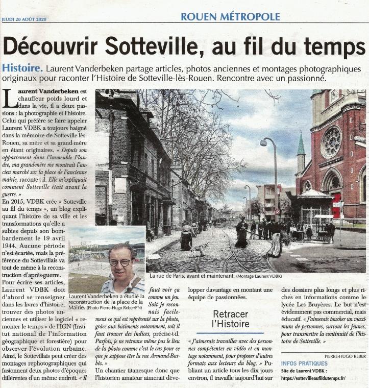 """Article sur Laurent Vanderbeken pour le blog """"Sotteville Au Fil Du Temps"""" dans le journal Paris-Normandie"""