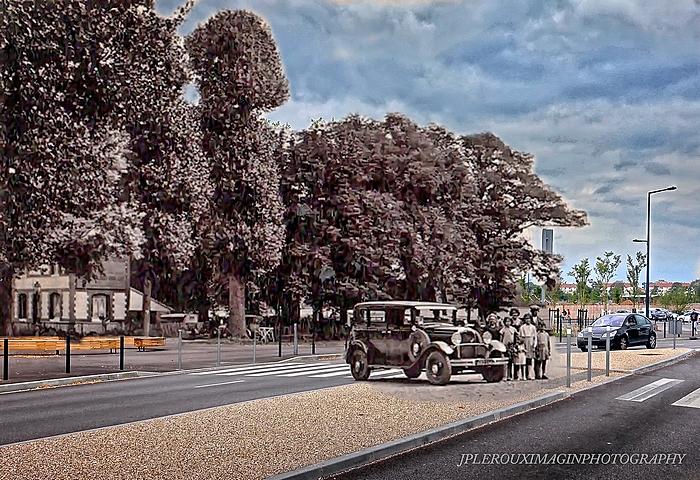 Montage rephotographique du rond-point du Champ de Course à Sotteville-lès-Rouen
