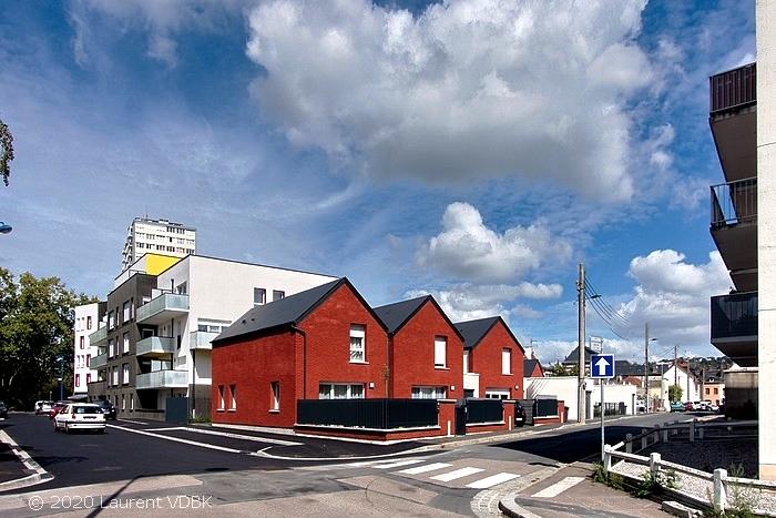 Angle rues Victor Hugo et Boieldieu à Sotteville-lès-Rouen : Charlotte Perriand et ses 5 maisons individuelles