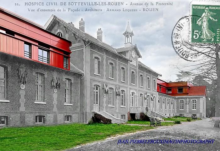 Montage rephotographique de la facade de l'Hospice du Bois-Petit à Sotteville-lès-Rouen